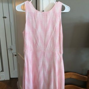 Pink and white tie-waist dress, size m